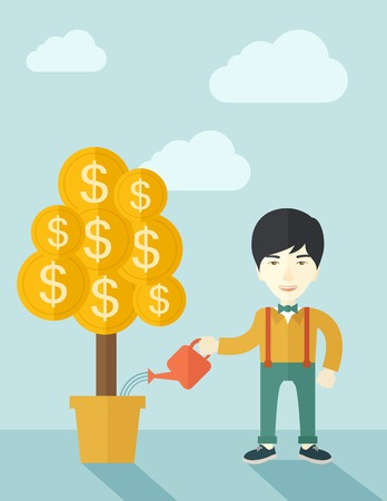 asian business: An asian businessman standing while happily watering a money tree growing bigger in a pot as a sign of his success in business. Hardworking concept. A contemporary style with pastel palette soft blue tinted background with desaturated clouds. Vector flat