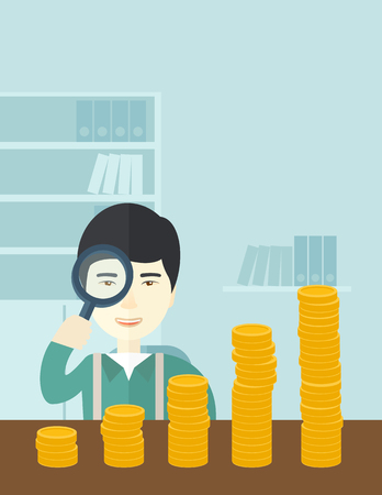 growing business: A japanese man looking his growing business in financial crisis concept. Economy and money, coin and success. A contemporary style with pastel palette soft blue tinted background. Vector flat design illustration. Vertical layout with text space on upper r