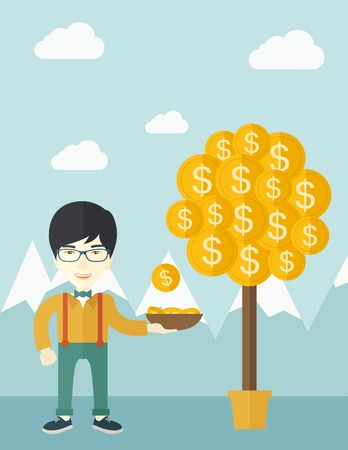 desaturated: A successful chinese businessman standing while catching a dollar coin from money tree. Business growth concept. A contemporary style with pastel palette soft blue tinted background with desaturated clouds. Vector flat design illustration. Vertical layout