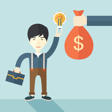 An asian young man exchange his hand with idea bulb to hand of money bag. Exchanging concept. A contemporary style with pastel palette soft blue tinted background. Vector flat design illustration. Square layout Illustration