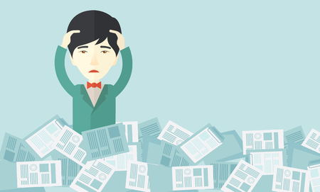 A japanese employee has a lot to do work with those papers around him and having a problem on how to meet the deadline of his report. Disappointment Concept. A contemporary style with pastel palette soft blue tinted background. Vector flat design illustra Illustration