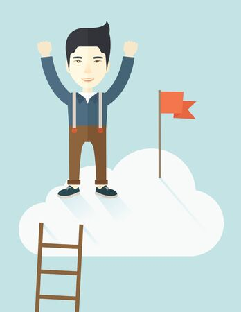 vertica: An asian businessman climbed using the ladder and standing on the top of the cloud with red flag. Leadership concept. .  A contemporary style with pastel palette soft blue tinted background with desaturated clouds. Vector flat design illustration. Vertica