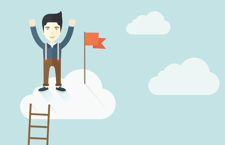 climbed: An asian businessman climbed using the ladder and standing on the top of the cloud with red flag. Leadership concept. .  A contemporary style with pastel palette soft blue tinted background with desaturated clouds. Vector flat design illustration. Horizon Illustration