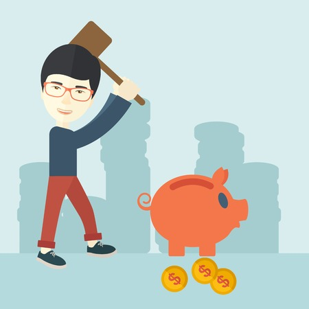 financial crisis: A chinese businessman standing while holding a hammer breaking piggy bank with dollar coins for financial assistance of his foreclosure business. Financial crisis concept. A contemporary style with pastel palette soft blue tinted background. Vector flat d