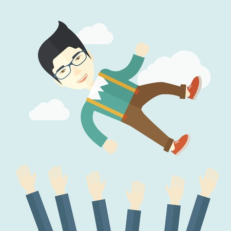An aggressive japanese businessman being throwing up to the sky by his teamwork or colleague. Happiness concept. A contemporary style with pastel palette soft blue tinted background with desaturated clouds. Vector flat design illustration. Square layout. Illustration