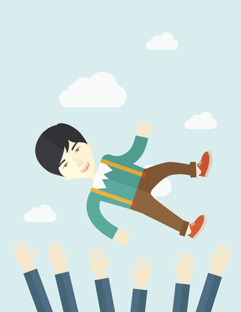 colleague: An aggressive japanese businessman being throwing up to the sky by his teamwork or colleague. Happiness concept. A contemporary style with pastel palette soft blue tinted background with desaturated clouds. Vector flat design illustration. Vertical layout