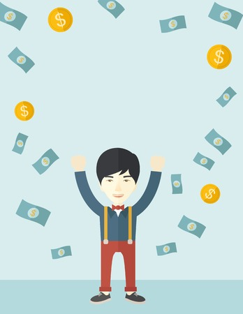 raining: A young and cheerful chinese gentleman standing under falling raining money shower a coin and bill dollar money. Winner, happy concept. A contemporary style with pastel palette soft blue tinted background. Vector flat design illustration. Vertical layout