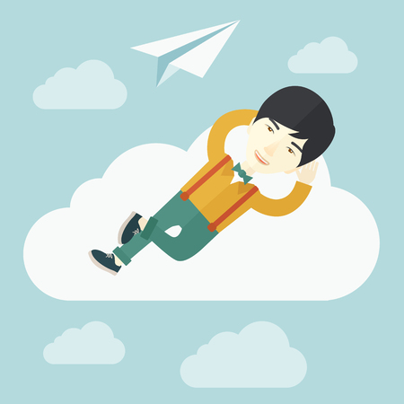 clouding: An asian man is relaxing while lying on a cloud with paper plane. A contemporary style with pastel palette soft blue tinted background with desaturated clouds. Vector flat design illustration. Square layout.