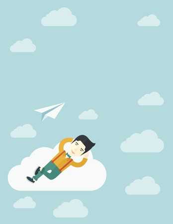 An asian man is relaxing while lying on a cloud with paper plane. A contemporary style with pastel palette soft blue tinted background with desaturated clouds. Vector flat design illustration. Vertical layout.
