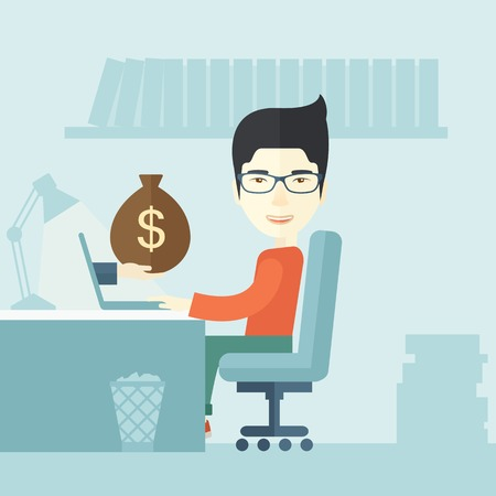 hand with a bag of money: A Japanese Businessman sitting infront of his table working at a laptop searching and browsing with bag of money on hand inside the office. Business concept. A contemporary style with pastel palette soft blue tinted background. Vector flat design illustra