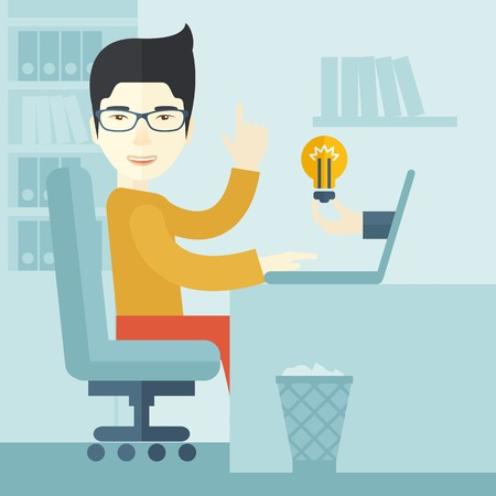 An asian businessman sitting while working infront of his desk getting a brilliant idea for business from the laptop. Business concept. A contemporary style with pastel palette soft blue tinted background. Vector flat design illustration. Square layout.