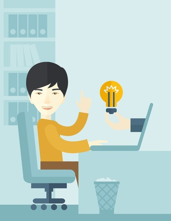 An asian businessman sitting while working infront of his desk getting a brilliant idea for business from the laptop. Business concept. A contemporary style with pastel palette soft blue tinted background. Vector flat design illustration. Vertical layout