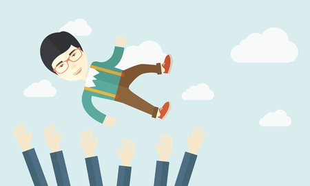 colleague: An aggressive japanese businessman being throwing up to the sky by his teamwork or colleague. Happiness concept. A contemporary style with pastel palette soft blue tinted background with desaturated clouds. Vector flat design illustration. Horizontal layo