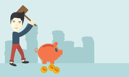 foreclosure: A chinese businessman standing while holding a hammer breaking piggy bank with dollar coins for financial assistance of his foreclosure business. Financial crisis concept. A contemporary style with pastel palette soft blue tinted background. Vector flat d