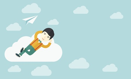 clouding: An asian man is relaxing while lying on a cloud with paper plane. A contemporary style with pastel palette soft blue tinted background with desaturated clouds. Vector flat design illustration. Horizontal layout.