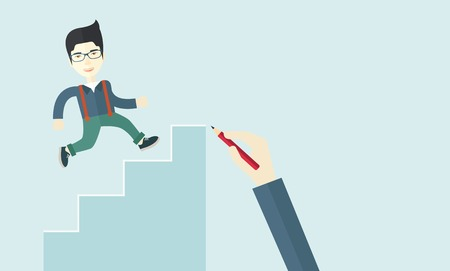 A hand with red pen drawn a chinese businessman climbing up the stairs, a concept of success and career. A contemporary style with pastel palette soft blue tinted background. Vector flat design illustration. Horizontal layout with text space on upper righ Ilustração