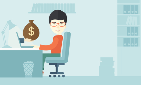 asian man laptop: A Japanese Businessman sitting infront of his table working at a laptop searching and browsing with bag of money on hand inside the office. Business concept. A contemporary style with pastel palette soft blue tinted background. Vector flat design illustra