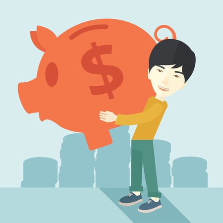 investment concept: A chinese Businessman carries on his two arms his big piggy bank for economy purposes saving money is very important. Investment concept. A contemporary style with pastel palette soft blue tinted background. Vector flat design illustration. Square layout.