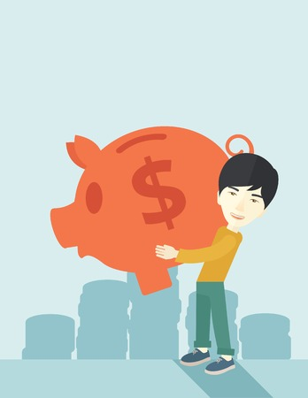 easy money: A chinese Businessman carries on his two arms his big piggy bank for economy purposes saving money is very important. Investment concept. A contemporary style with pastel palette soft blue tinted background. Vector flat design illustration. Vertical layou