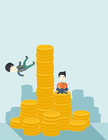 asian business: A Two asian businessmen one sitting with self confidence on the top of a coin while the other one, competitor feel sad on his falling down from higher piled coin as a symbol of unsuccessful business. A contemporary style with pastel palette soft blue tint
