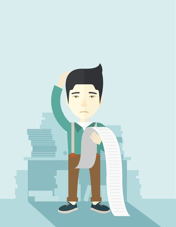 paying bills: A sad japanese employee  standing holding a paper feels headache and worries about paying a lot of bills. Problem, worries concept. A contemporary style with pastel palette soft blue tinted background. Vector flat design illustration. Vertical layout with
