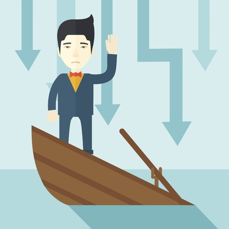 A failure chinese businessman standing on a sinking boat with those arrows on his back pointing down symbolize that his business is loosing. He needs help. Bankruptcy concept. A contemporary style with pastel palette soft blue tinted background. Vector fl Vectores