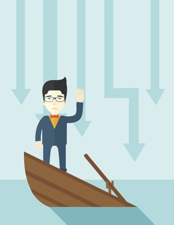 A failure chinese businessman standing on a sinking boat with those arrows on his back pointing down symbolize that his business is loosing. He needs help. Bankruptcy concept. A contemporary style with pastel palette soft blue tinted background. Vector fl Illustration