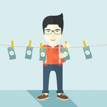 laundering: A chinese businessman standing hanging his money has a financial problem. He enter into money laundering business. Bankruptcy concept. A contemporary style with pastel palette soft blue tinted background. Vector flat design illustration. Square layout.
