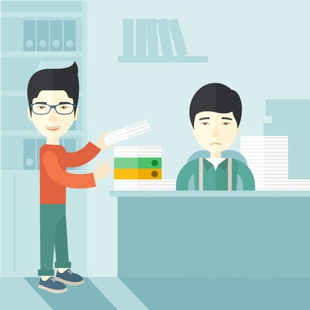asian business: An asian man standing giving a paper work to do to chinese man sitting, stressful man in office with stack of paper on his desk. Business concept in overload work and very busy. A contemporary style with pastel palette soft blue tinted background. Vector