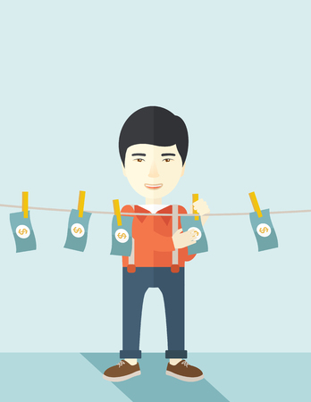 laundering: A chinese businessman standing hanging his money has a financial problem. He enter into money laundering business. Bankruptcy concept. A contemporary style with pastel palette soft blue tinted background. Vector flat design illustration. Vertical layout w