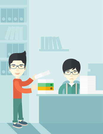 An asian man standing giving a paper work to do to chinese man sitting, stressful man in office with stack of paper on his desk. Business concept in overload work and very busy. A contemporary style with pastel palette soft blue tinted background. Vector