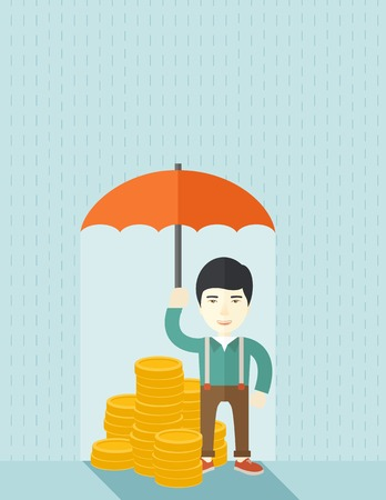 crisis management: A chinese businessman standing holding umbrella protecting his money to investments, money management. Saving money for any financial crisis will come. Saving concept. A contemporary style with pastel palette soft blue tinted background. Vector flat desig