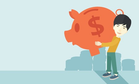 easy money: A chinese Businessman carries on his two arms his big piggy bank for economy purposes saving money is very important. Investment concept. A contemporary style with pastel palette soft blue tinted background. Vector flat design illustration. Horizontal lay
