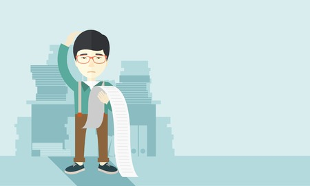depress: A sad japanese employee  standing holding a paper feels headache and worries about paying a lot of bills. Problem, worries concept. A contemporary style with pastel palette soft blue tinted background. Vector flat design illustration. Horizontal layout wi Illustration