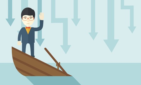 fl: A failure chinese businessman standing on a sinking boat with those arrows on his back pointing down symbolize that his business is loosing. He needs help. Bankruptcy concept. A contemporary style with pastel palette soft blue tinted background. Vector fl Illustration