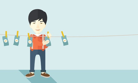 chased: A chinese businessman standing hanging his money has a financial problem. He enter into money laundering business. Bankruptcy concept. A contemporary style with pastel palette soft blue tinted background. Vector flat design illustration. Horizontal layout