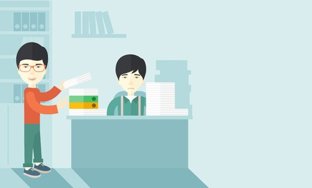 overload: An asian man standing giving a paper work to do to chinese man sitting, stressful man in office with stack of paper on his desk. Business concept in overload work and very busy. A contemporary style with pastel palette soft blue tinted background. Vector
