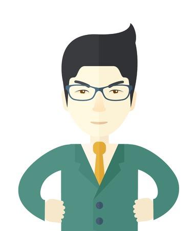 patron: Un jefe chino muy enojado. Fecha límite y relaciones de trabajo concepto de negocio. Un estilo contemporáneo. Aislado Vector diseño plano ilustración de fondo blanco. Diseño vertical.