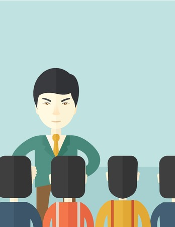 asian business: A very angry asian boss standing having a meeting to his employees facing him inside the office. Deadline and work Relationships business concept. A Contemporary style with pastel palette, soft blue tinted background. Vector flat design illustration. Vert