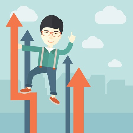 self development: A successful chinese businessman stand on top of graph looking how high he is. Business success, self development concept. A Contemporary style with pastel palette, soft blue tinted background with desaturated cloud. Vector flat design illustration. Squar Illustration