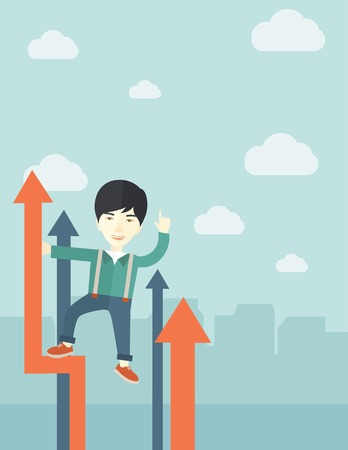self development: A successful chinese businessman stand on top of graph looking how high he is. Business success, self development concept. A Contemporary style with pastel palette, soft blue tinted background with desaturated cloud. Vector flat design illustration. Verti