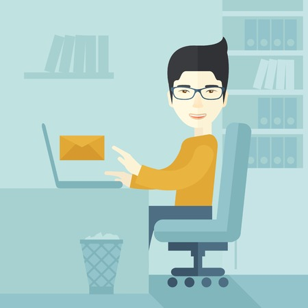 chat room: Young happy japanese man sitting in front of a table with computer laptop and thinking what to write in e-mail inside his office. A Contemporary style with pastel palette, soft blue tinted background. Vector flat design illustration. Square layout.