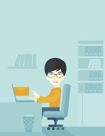 chat room: Young happy japanese man sitting in front of a table with computer laptop and thinking what to write in e-mail inside his office. A Contemporary style with pastel palette, soft blue tinted background. Vector flat design illustration. Vertical layout with