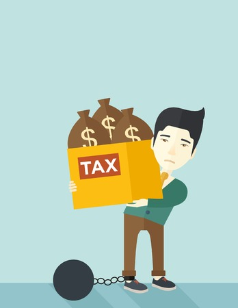 tax evasion: A chinese businessman locked in a debt ball in chain for committing crime in tax evasion. Debt concept. A Contemporary style with pastel palette, soft blue tinted background. Vector flat design illustration. vertical layout with text space on top part. Illustration