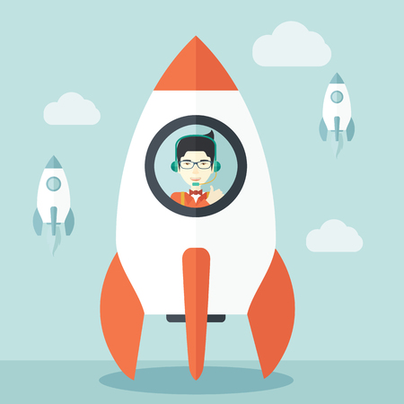 beginnings: A Young asian guy inside the rocket on launch of space. Startup concept A Contemporary style with pastel palette, soft blue tinted background with desaturated cloud. Vector flat design illustration. Square layout.