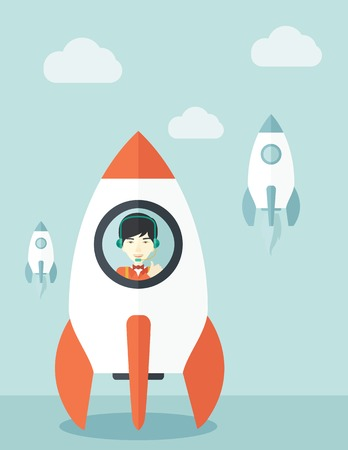 beginnings: A Young asian guy inside the rocket on launch of space. Startup concept A Contemporary style with pastel palette, soft blue tinted background with desaturated cloud. Vector flat design illustration. Vertical layout
