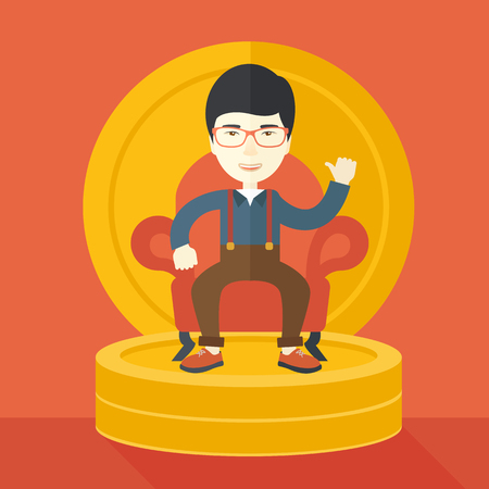pastel like: A successful japanese businessman smiling while sitting like a king on a heap of money. Achievement concept. A Contemporary style with pastel palette, orange tinted background. Vector flat design illustration. Square layout. Illustration