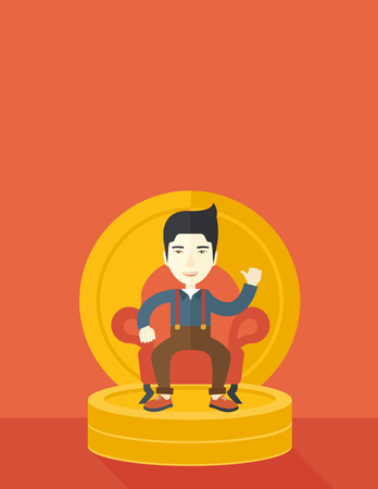 pastel like: A successful japanese businessman smiling while sitting like a king on a heap of money. Achievement concept. A Contemporary style with pastel palette, orange tinted background. Vector flat design illustration. Vertical layout with text space on top part.