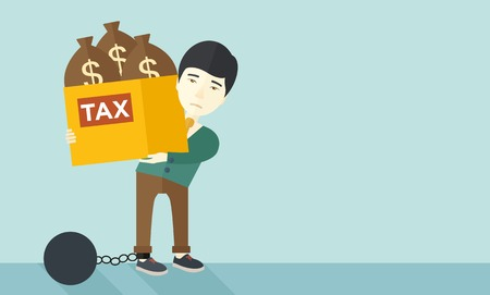 tax evasion: A chinese businessman locked in a debt ball in chain for committing crime in tax evasion. Debt concept. A Contemporary style with pastel palette, soft blue tinted background. Vector flat design illustration. Horizontal layout with text space in right side