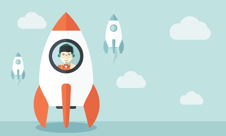 beginnings: A Young asian guy inside the rocket on launch of space. Startup concept A Contemporary style with pastel palette, soft blue tinted background with desaturated cloud. Vector flat design illustration. Horizontal layout.